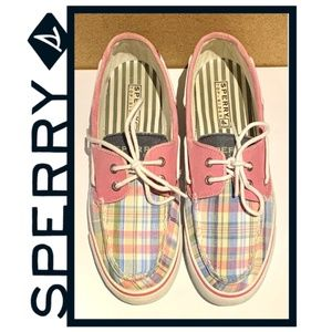 Women's Sperry Top-Sider Pink Plaid Boat Loafers